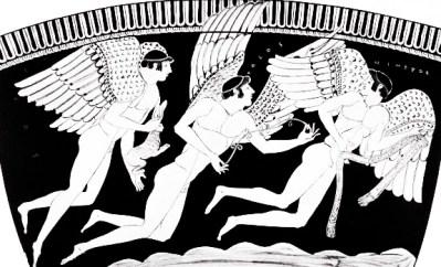 Tres Erotes cruzan el mar llevando regalos de amor una liebre, una corona de flores y una faja. Eros, Potos e Himeros.