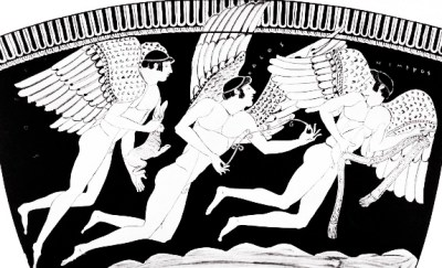 Three Erotes (winged love-gods) wing their way across the sea bearing love-gifts - a hare, a wreath and a sash. The names of the gods - Eros, Pothos and Himeros - are inscribed on the vase.