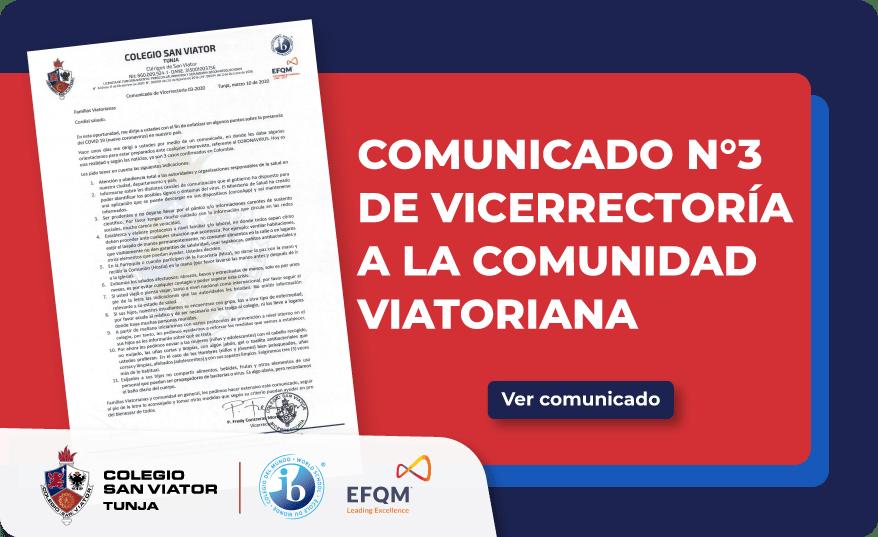 Comunicado N°3 de Vicerrectoría para la comunidad Viatoriana