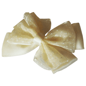 Yellow Hair Clips with Satin Organza Bow – FREE SHIPPING