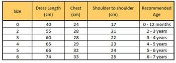 yellow smocked dress size chart