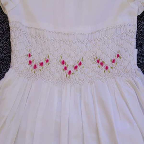 Smocked dress white with sleeve