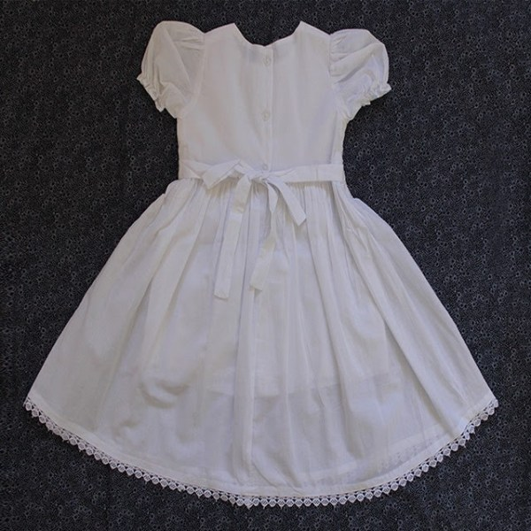 Smocked dress white sleeveless