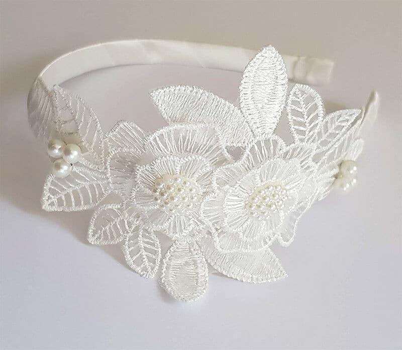 Bridal Headband with Sugar white Pearl embellishment