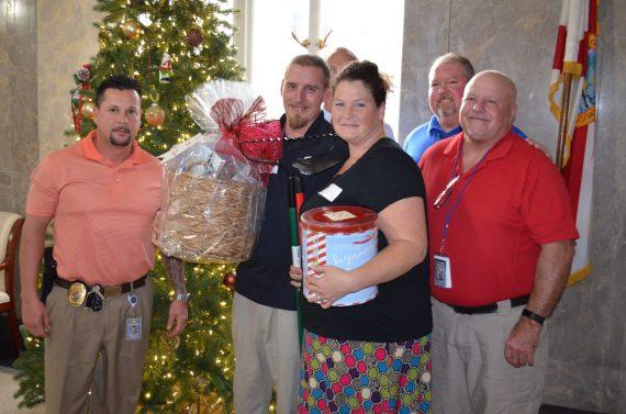 The office's investigators provided a basket for Leadry and Sarah Wilson.