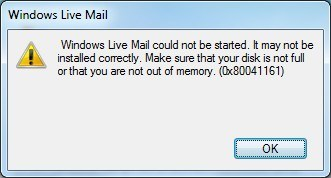 Windows Live Mail error 0x80041161