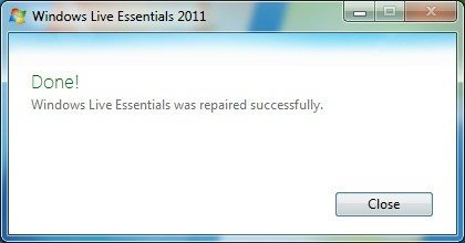 Windows Live Essentials repaired successfully