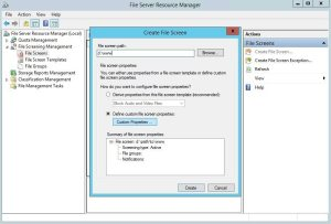 Create File Screen properties