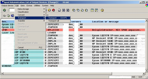 How to create and change SAP printer device