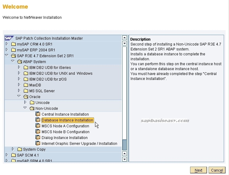 How to install SAP database instance