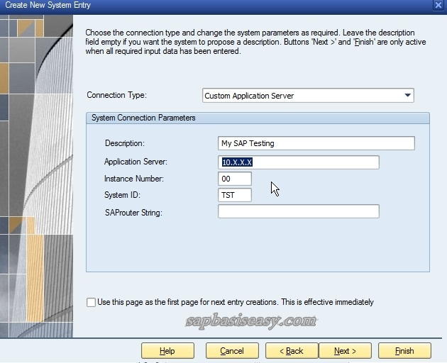 Configuring SAP Logon entries
