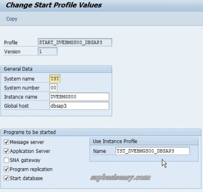 Change Start Profile in Basic Maintenance