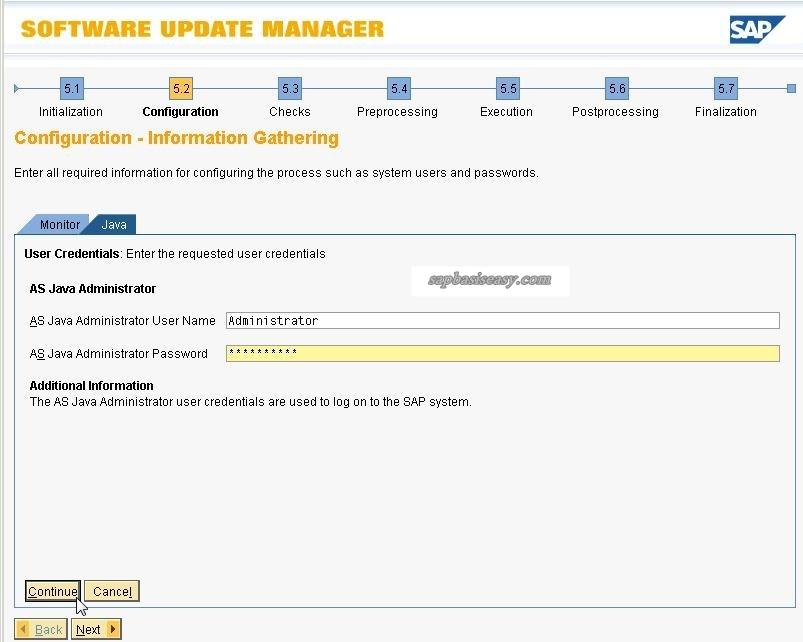 Administrator password for SUM
