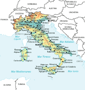 Italia. Cartina geografica.