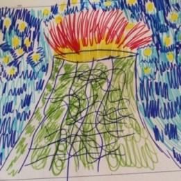 Il vulcano Nyiragongo in eruzione, disegno senza firma