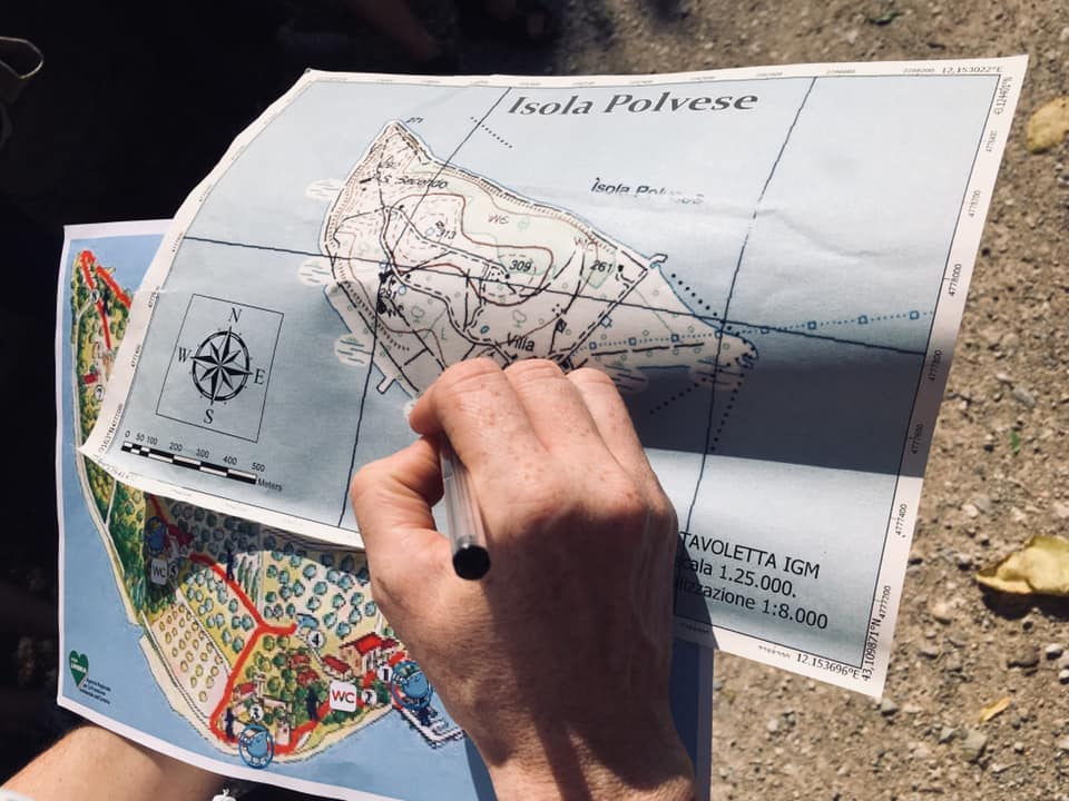 La mappa dell'isola Polvese nel lago Trasimeno