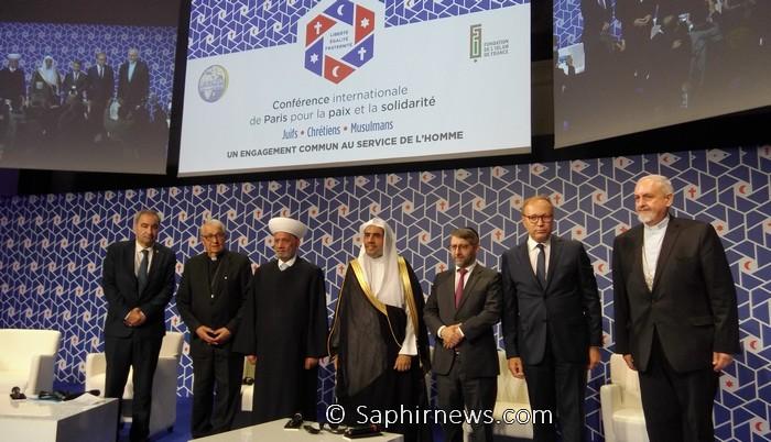 La conférence interreligieuse pour la paix et la solidarité s'est tenue mardi 17 septembre à Paris. De g. à dr. : le président de la Fédération protestante de France (FPF), l'archevêque de Lille Mgr Defois, le grand mufti du Liban  Abdellatif Deriane, le secrétaire général de la Ligue islamique mondiale Mohammed Ben Abdul Karim Al-Issa, le Grand rabbin de France Haïm Korsia, le président de la Fondation de l'islam de France Ghaleb Bencheikh, et Mgr Emmanuel Adamakis, président de l'Assemblée des évêques orthodoxes de France (AEOF).