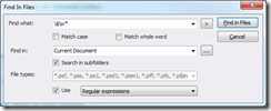 Regular Expression search in current document.