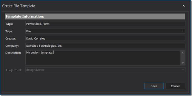 Create File Template Dialog