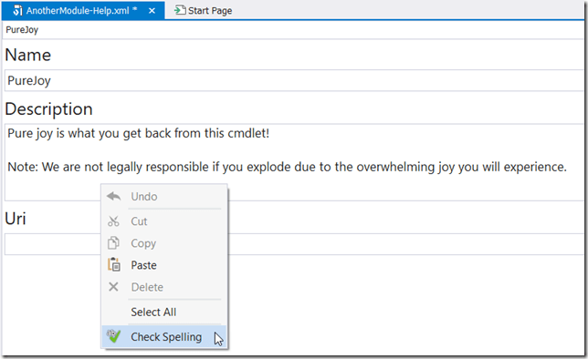 Spell Check via Context Menu