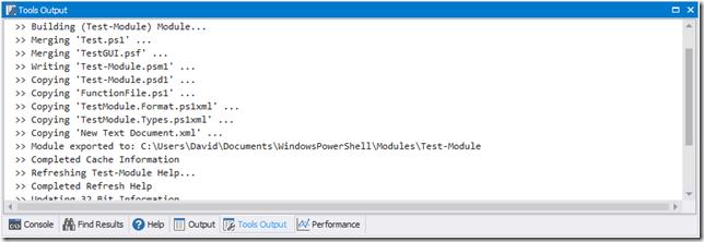 Tools Pane - Build Output