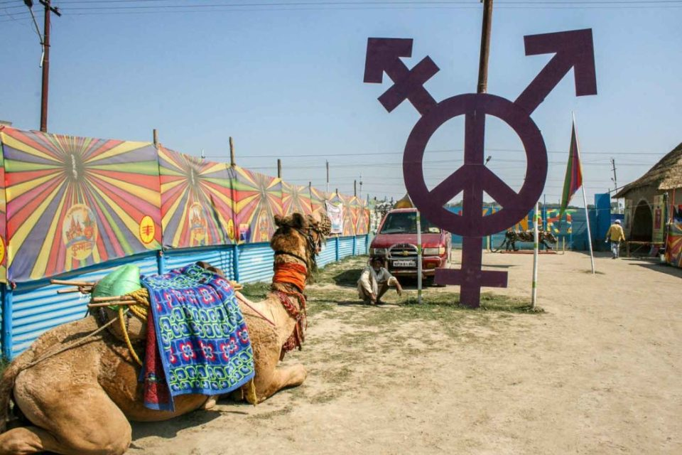 The Kinnar Akhada, a Hindu monastic order of hijra priestesses, was assigned a remote location at the fringes of the Kumbh Mela—a placement that mirrors their situation in society.