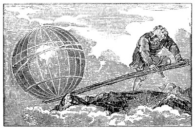 An illustration of Greek scholar Archimedes moving the world with the power of a lever.