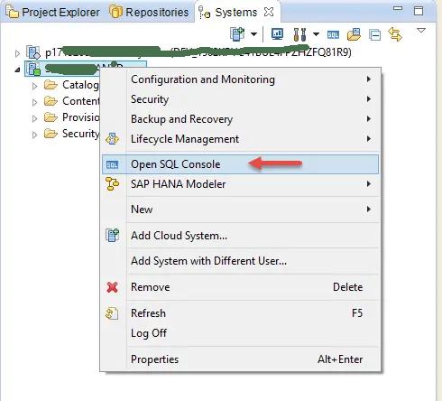HANA Open SQL Console