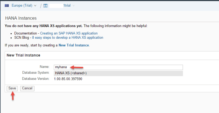 New Trial Instance in SAP HCP