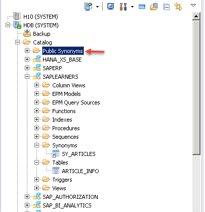 SAP HANA SQL Synonym Step_5