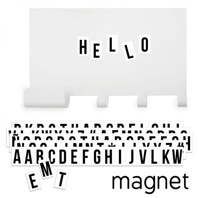 Tableau magnétique, crochets et lettres aimantées noires * Tresxics