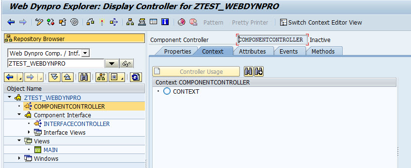 create webdynpro abap application
