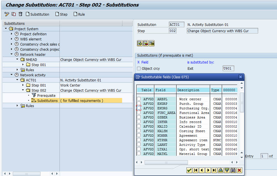 create substitution sap ps for activity