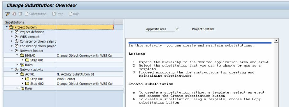 create substitution sap ps