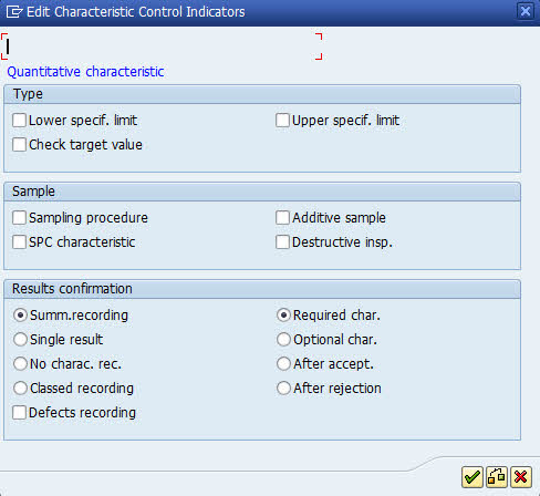 qs21 create inspection characteristic control indicator sap