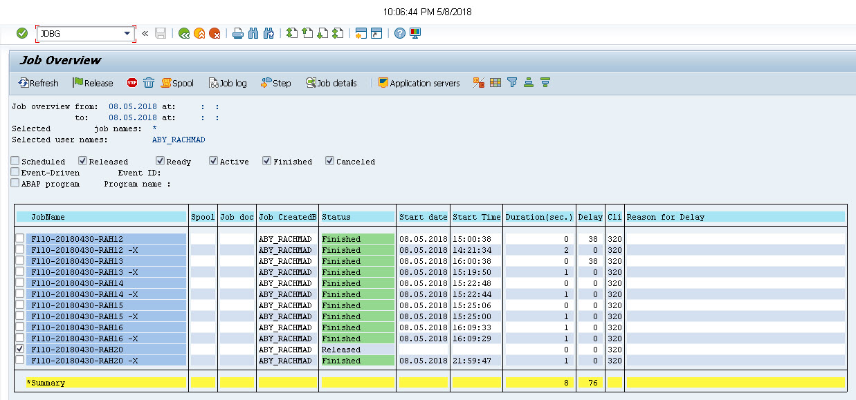 How to debug Background Job in F110 - SAP Tutorial