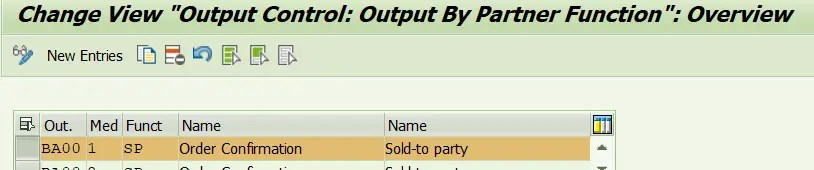 Assign Output Types To Partner Functions