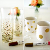 DIY Gold Sharpie Dot Mugs + Glasses