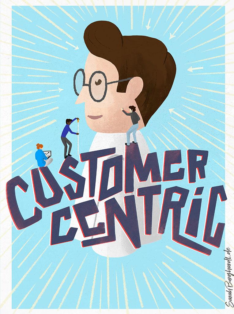 Firmenwerte Customer Centric - Illustration & Lettering