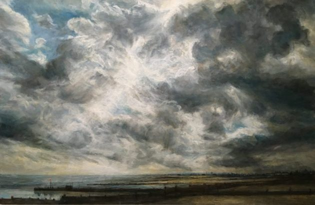 Looking into the Sun, Whitstable. Oil on panel. (92 x 65 cms)