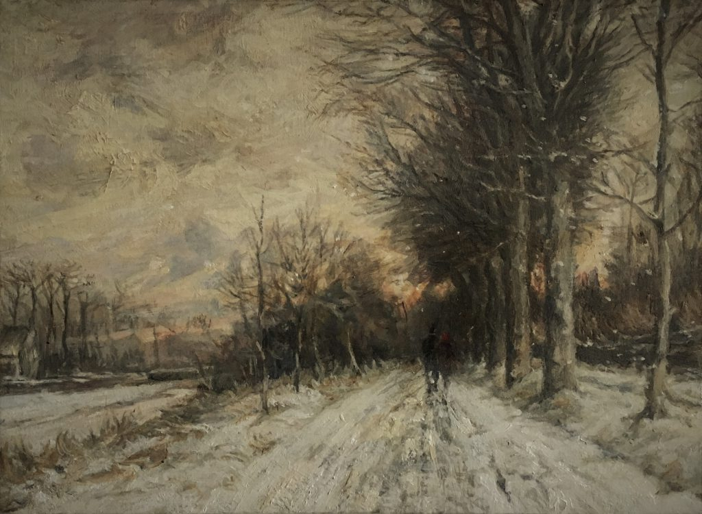 Winter Walk, oil on panel. (34 x 40 cms)