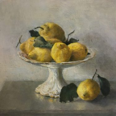 Lemons on a Raised Dish. Oil on panel (30cms x 30cms)