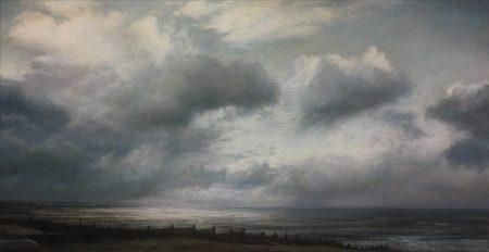 Whitstable Hazy Seascape. Oil on panel (47 x 71 cms)
