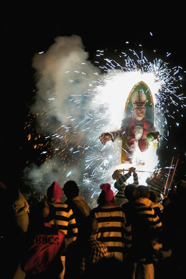Burning effigy of the Pope, Cliffe Bonfire Society, Lewes, Sussex, 2010