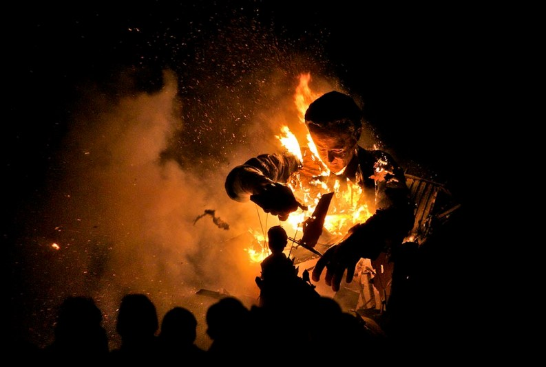 Burning effigy of David Cameron, Cliffe Bonfire, Lewes, Sussex