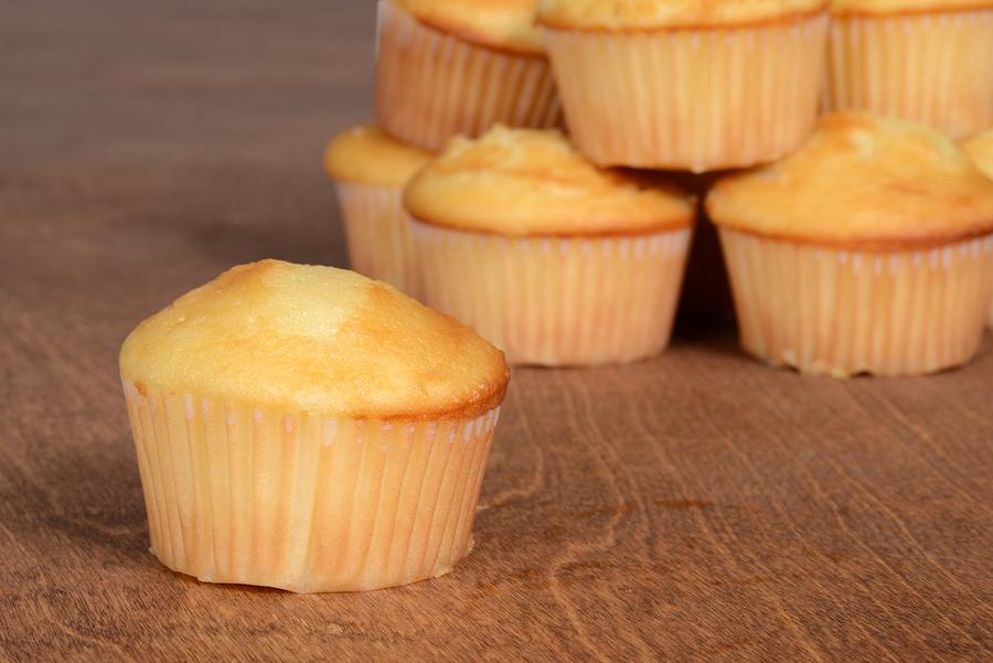 macro plain cupcake