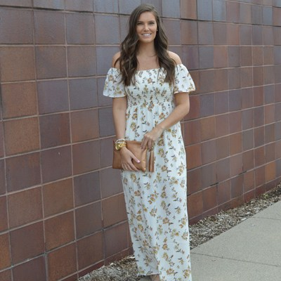Off-the-Sholder Floral Maxi Dress