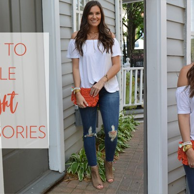 Classic OTS Top and Jeans + How to Style Bright Accessories