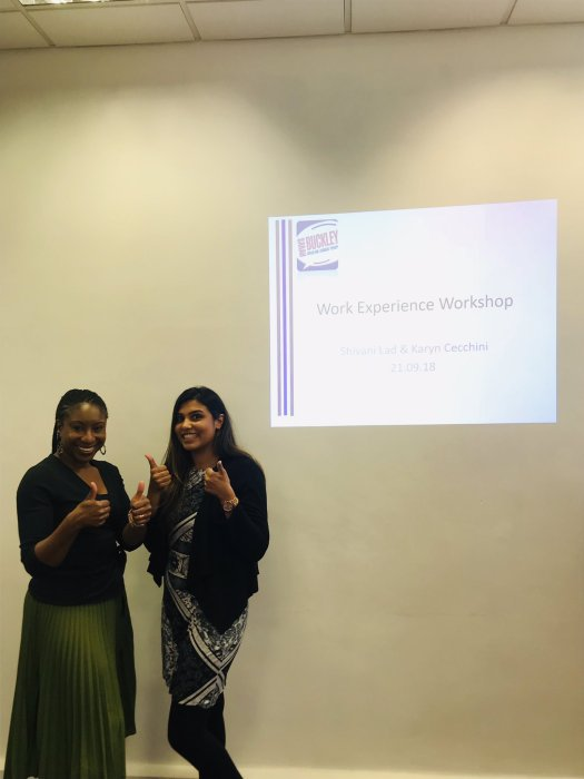Karyn Cecchini and Shivani Lad at the Work Experience workshop