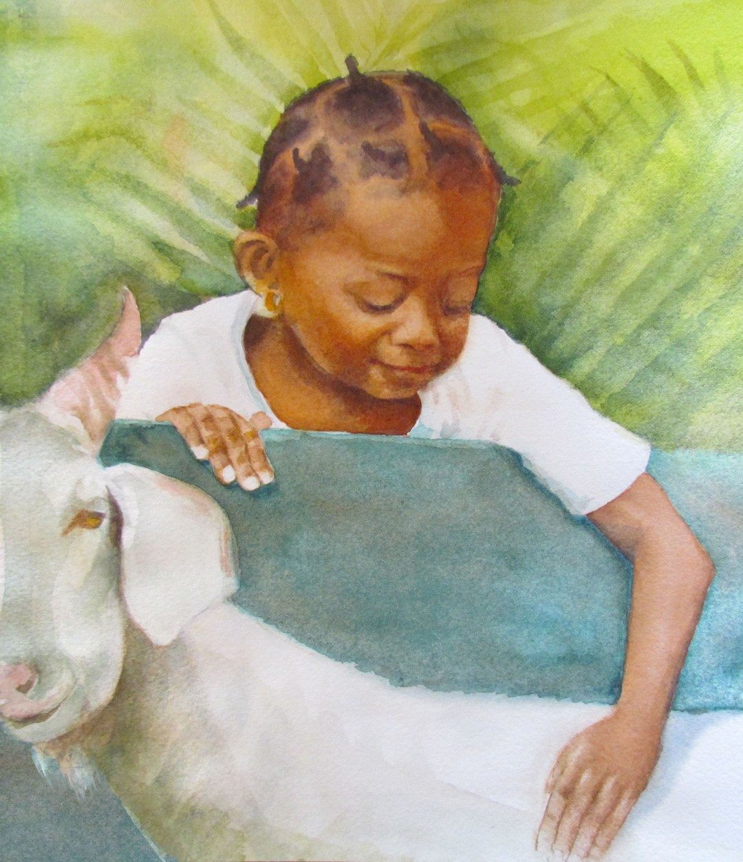 YOUNG GIRL AND A GOAT
